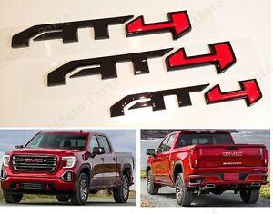 3PCS Set Gloss Black Red AT4 Emblems Badge Fit GMC Canyon Sierra 2500HD 3500HD