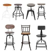 Industrial Wood Top Bar Stools Rustic Vintage Swivel Kitchen Dining Chair R8Z8