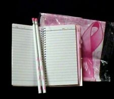 Breast Cancer Awareness Pink Ribbon Tablecloth Pencils Pen Notepad Date Book New