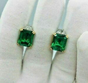 4Ct Emerald Cut Green emerald Solitaire Stud Earrings 14k White Gold Finish