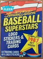 1987 Fleer Limited Edition Baseball Superstars 44-Card 6 Sticker Complete Set