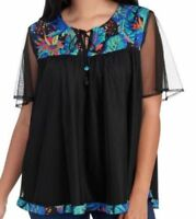 LIFE STYLE WOMAN Tunic Blouse Plus Size Embroidered Mesh Top Black NWT$58