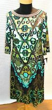 Sandra Darren New with Tag Black Olive Embellished Arabesque Shift Dress Size10