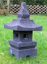 STEIN LATERNE Japan Pagode Vulkanstein Turm wetterfest Gartenlaterne Steinpagode