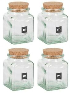 4x HAND MADE Glass jar bottle food container liquids with cork Puchades 260ml