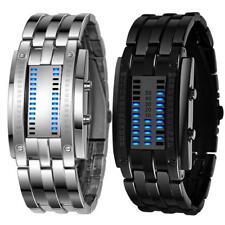 Men Binary Watch Tungsten Steel Band Led Display Shockproof Hardlex Dial Fashion