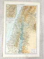 1898 Antik Map Of Israel Palästina Die Heilige Land Judäa Samaria 19th Century