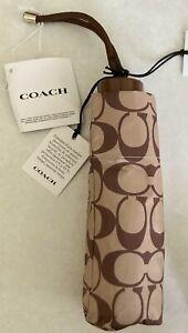 """New Coach Signature Mini Umbrella Khaki / Saddle 7"""""""