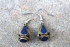 silver hook Lapis Lazuli Gemstone Drop Earrings tribal* earrings Afghan Earrings