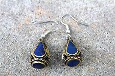 Earrings tribal*silver hook lapis lazuli gemstone afghani earrings