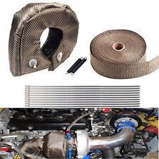 "T3 Titanium Turbo Heat Shield Blanket Cover + 2"" 50Ft Exhaust Header Wrap Tape"