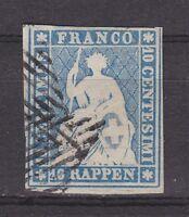 """Schweiz - 1854, MiNr. 14 I b, gestempelt - 10 Rp. """"STRUBEL"""" - gepr. MARCHAND !!"""