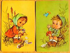CHILDREN - LITTLE BOY & GIRL PLAYING WITH CARDS -VINTAGE PAIR SWAP PLAYING CARDS
