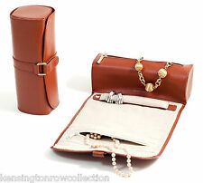 """JEWELRY HOLDERS - """"MAYFAIR"""" TAN LEATHER JEWELRY ROLL - LADIES TRAVEL ACCESSORY"""