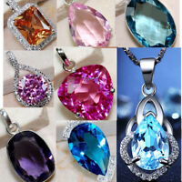 Women Fashion 925 Sterling Silver Crystal Charm Pendant Necklace Gift Jewelry