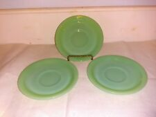 LOT OF 3 VINTAGE JADEITE FIRE KING RESTAURANT WARE SAUCERS