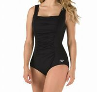 Speedo Womens Swimwear Black Size 14 Square-Neck Ruched Shirred Swimsuit $82 458