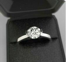 Half Bezel Set Solitaire Engagement Bridal Ring 2Ct Round Diamond 14k White Gold