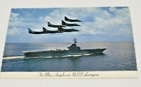 Postcard Real Photo Vintage Blue Angels Over The USS Lexington