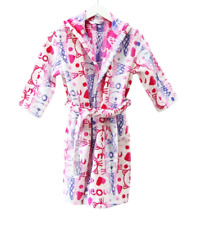 Girls Kids 100% Cotton Terry Towelling Bath Robe Bathing Robe Pink Age 5-9 Years