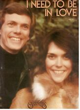 THE CARPENTERS-I NEED TO BE IN LOVE--PIANO/VOCAL/GUITAR W/CHORDS SHEET MUSIC-NEW