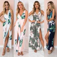 Women Sleeveless Floral Jumpsuit Slit Long Pants Trousers Romper Playsuit Summer