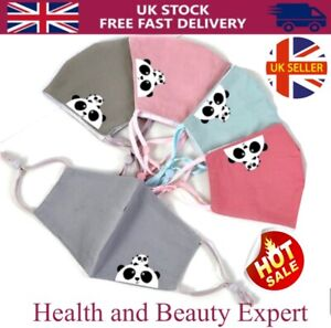 UK Children Kids Face Mask Washable Reusable Breathable Mouth Nose Cover Panda