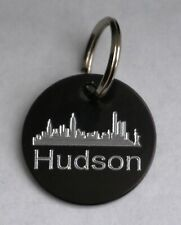 NYC NEW YORK DOG TAG 25mm BLACK ROUND TAG PERSONALISED WITH NAME & YOUR DETAILS