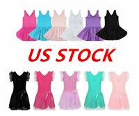 US Girls Kids Ballet Dance Dress Gymnastics Leotards Ruffle Tutu Skirt Dancewear