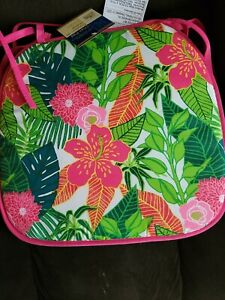 Home Collection Pink tropical Chair Pad Cushion SUMMER PARROT PALM set 5