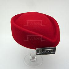 VINTAGE Wool Felt Ladies Pillbox Hat Women FORMAL Party DIY Fascinator | Red