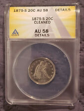 1875-S AU58 20C SEATED LIBERTY CLEANED TWENTY CENT PIECE ANACS - RARE