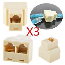 3X RJ45 CAT5 6 Ethernet Cable LAN Port Socket Splitter Connector Adapter 1 To 2