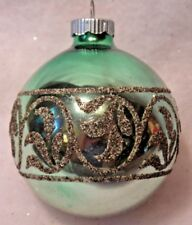 """VINTAGE SHINY BRITE LARGE GREEN MICA STENCILED CHRISTMAS TREE ORNAMENT 3.5"""""""