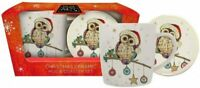 Kooks Owl Baubles Ceramic Christmas Coffee Tea Mug & Coaster Boxed Gift Set