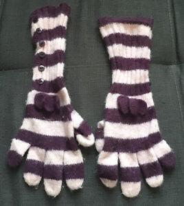 Girls Striped Gloves