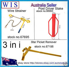 3 in 1 Wire Fence Strainer for Plain&Barb Wire & Star Picket Lifter &Post Driver