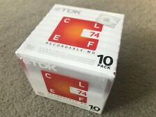 TDK CLEF 74 MINUTE JAPANESE BLANK RECORDABLE MINIDISCS - 10 PACK - NEW & SEALED