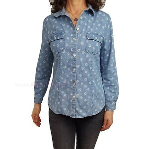 ANN TAYLOR LOFT Petite PL Chambray Blue Button Front The Softened Shirt Floral