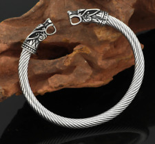 Odins Wolves Viking Bracelet - Stainless Steel | Norse Arm Ring | Viking Jewelry