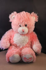 Build A Bear Pink Long Hair Bear with Heart on Chest/Foot and Magnetic Hands