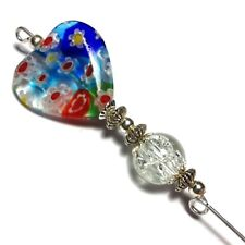 "Silver Hat Pin Antique Vintage Style Millefiori Glass Heart 5"" End Protector"
