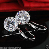 BLACK FRIDAY DEAL Silver Drop Round CZ Crystal Earrings Xmas Gifts For Her Women