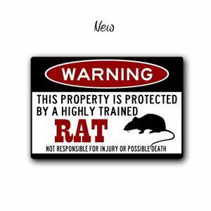 Funny Rat Warning Sign - 12 x 8 Aluminum
