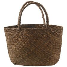 Casual Straw Bag Natural Wicker Tote Bags Women Braided Handbag For Garden T5W5