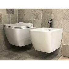 SET SANITARI RIMLESS SOSPESI SENZA BRIDA WC BIDET COPRIVASO SOFT-CLOSE BAGNO NEW
