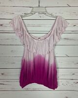 Free People Women's Size S Small Pink Purple Ombre Cute Spring Summer Top Blouse