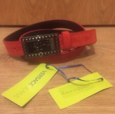 """VERSACE JEANS Branded Buckle Suede Leather Belt - Red - 90""""/105cm"""