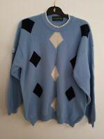 Vintage THE GLENMUIR 1981 XXL Scotland Argyle Mens Blue White Jumper  Wool Ch44