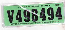 1967 Michigan Resident Deer License-Back Tag